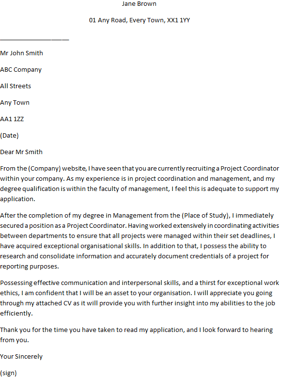 Project Coordinator Cover Letter Example for Job ...
