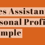 Sales Assistant CV Personal Profile Example