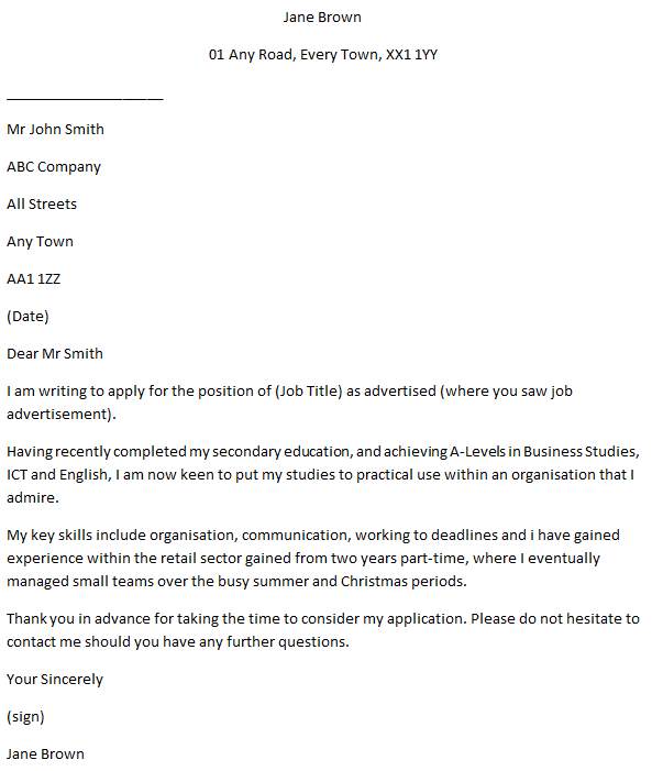 School Leaver Job Application Covering Letter Example - Learnist org