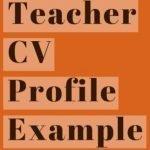 Teacher CV Profile Example