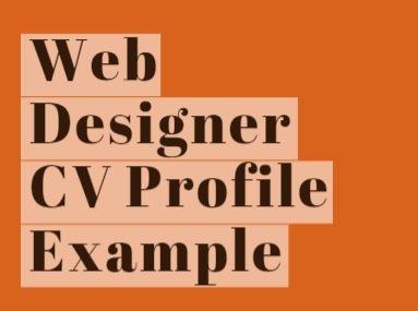 Web Designer CV Profile Example