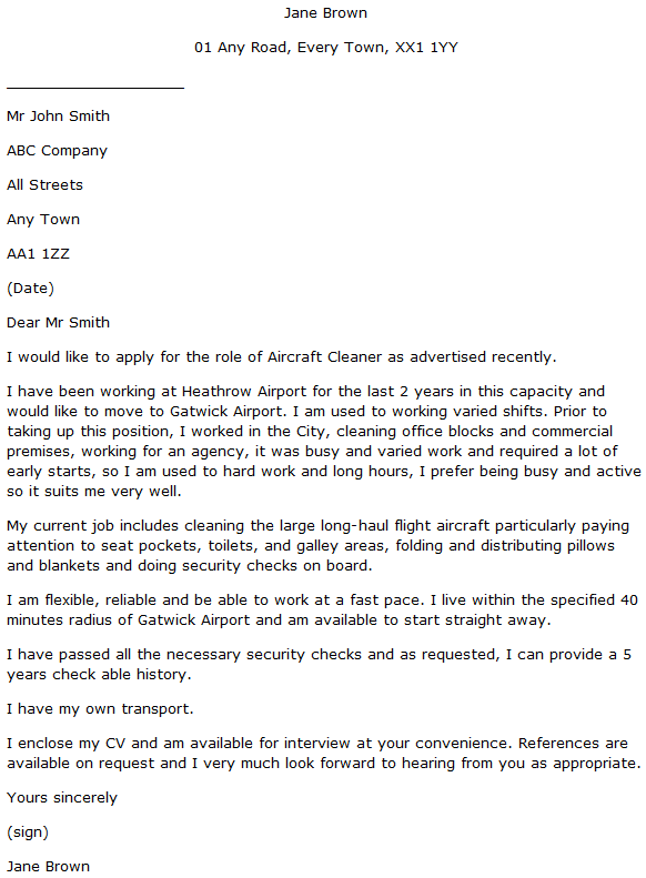 aircraft cleaner cover letter