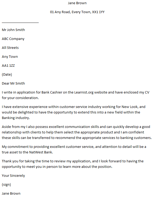 Bank Cashier - Checkouts Assistant Cover Letter Example ...