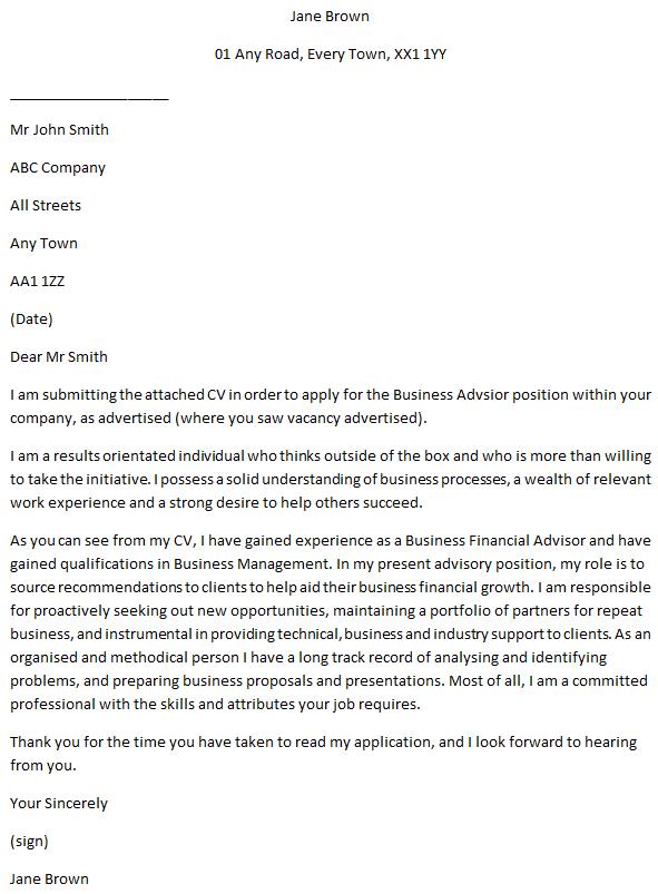 Business Adviser Cover Letter