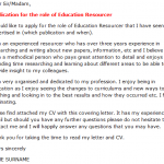 education resourcer cover letter