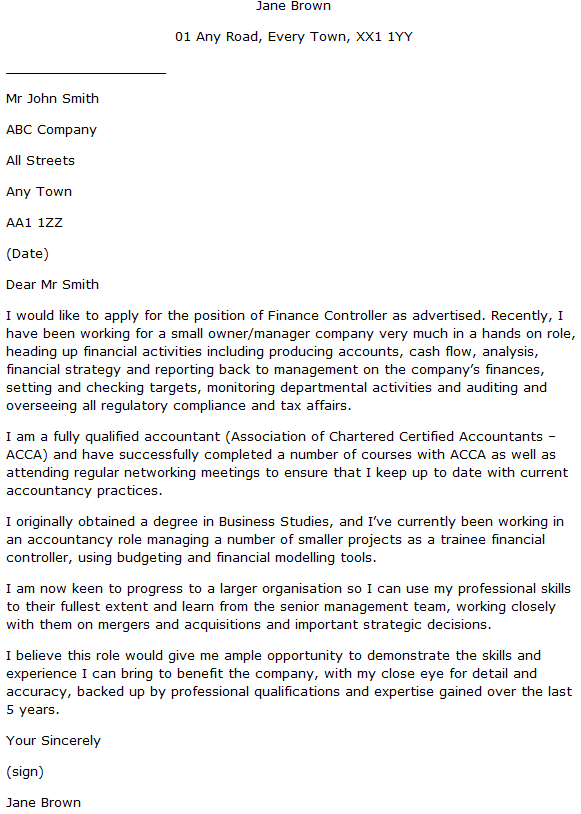 Finance Controller Cover Letter Example - Learnist.org