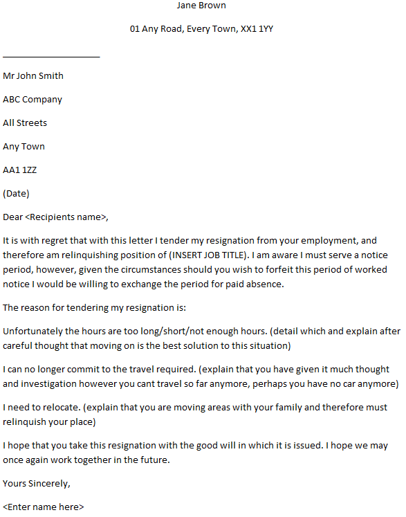 Formal Resignation Letter With Reason - Learnist.org