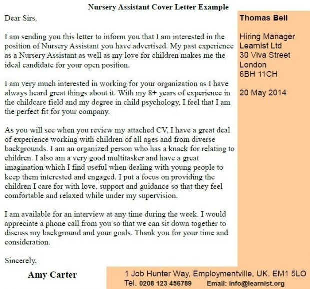 Nursery Assistant Cover Letter Example