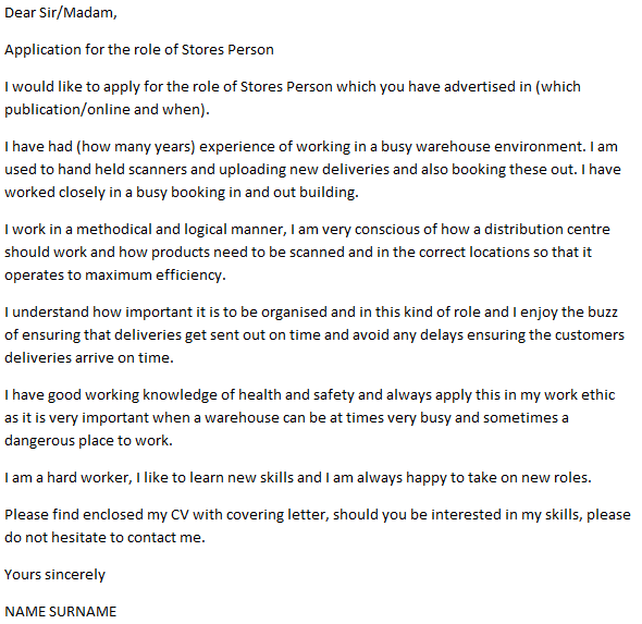 Storeperson Cover Letter Example