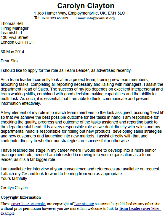 Team Leader Cover Letter Example Learnist Org