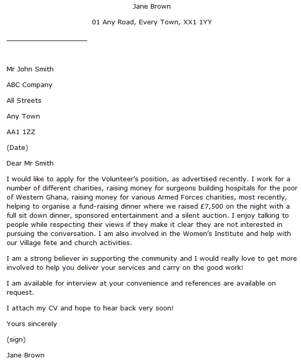 volunteer job application cover letter