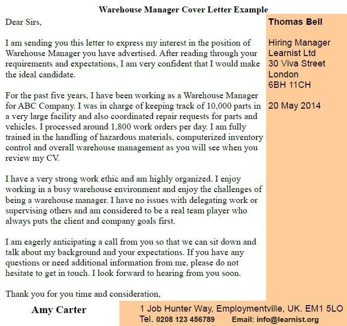 Warehouse Manager Cover Letter Example